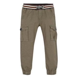 Boy's khaki twill multi-pocket trousers