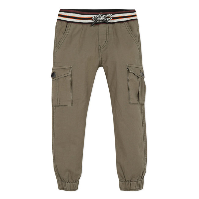 Boy's khaki twill multi-pocket trousers