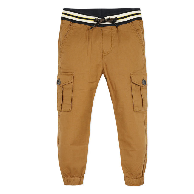 Boy's earthy brown twill multi-pocket trousers