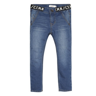 CATIMINI Boy's knit denim jeans with logo waistband