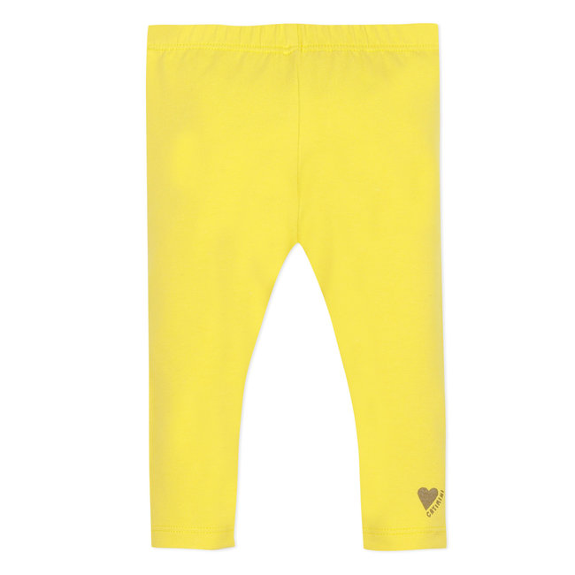 Baby girl's plain pollen yellow stretch jersey leggings