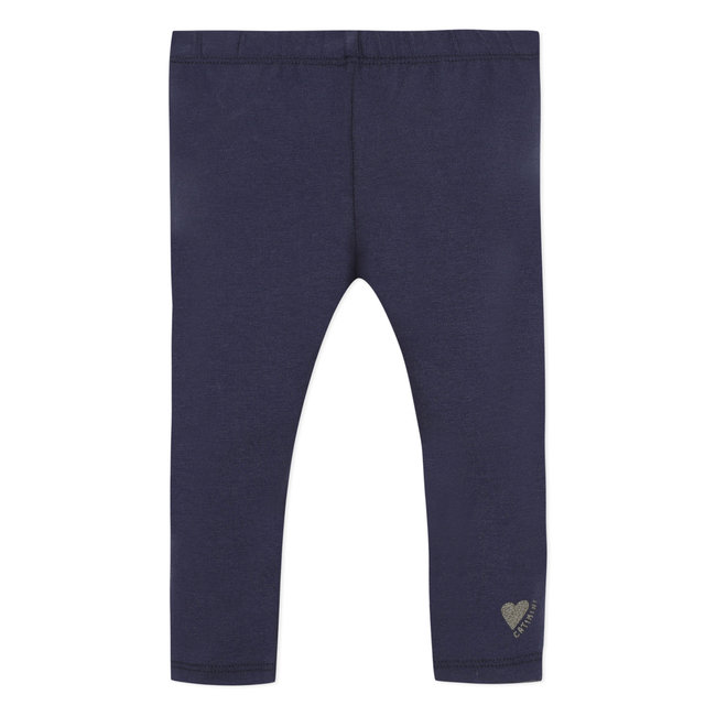 Baby girl's plain inky blue stretch jersey leggings