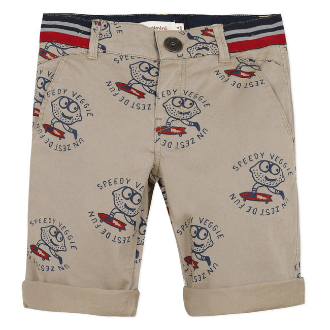 Boy's printed gabardine Bermuda shorts
