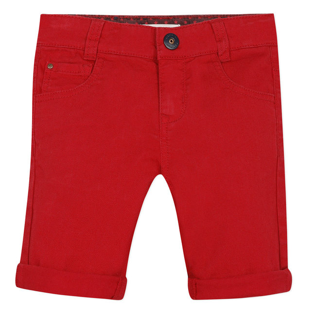Boy's red denim Bermuda shorts