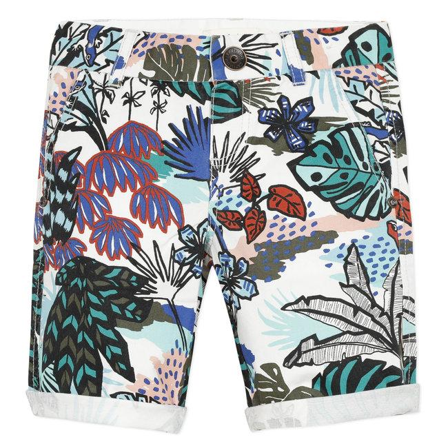 Boy's printed twill Bermuda shorts