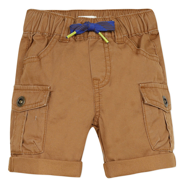 Baby boy's earth brown twill multi-pocket Bermuda shorts