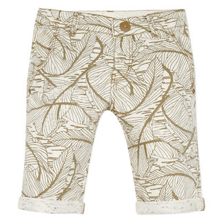 Boy's beige printed denim Bermuda shorts