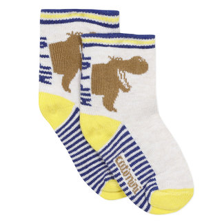 Baby boy's socks with yellow jacquard motif