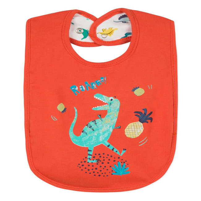 DOUBLE-SIDED BIB WITH DINOSAUR PRINT