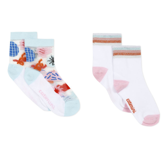 Pack of 2 pairs of girl's floral ankle socks