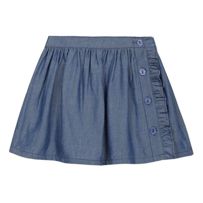 Girl's ruffled Tencel buttoned skirt