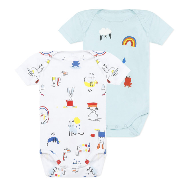 Pack of 2 envelope-style colourful bodysuits for baby boys