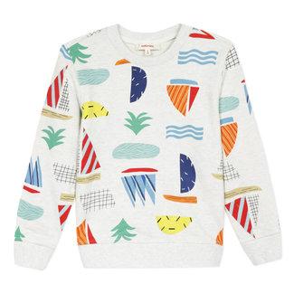 CATIMINI Boy's printed marl fleece sweatshirt