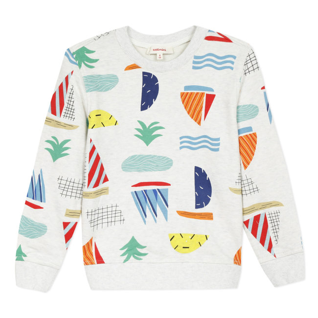 CATIMINI Boy's printed marl fleece sweatshirt