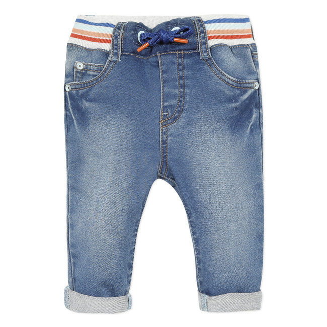 Baby boy's blue knit denim jeans