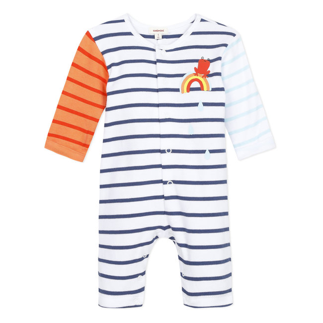Striped jersey dungarees for baby boys