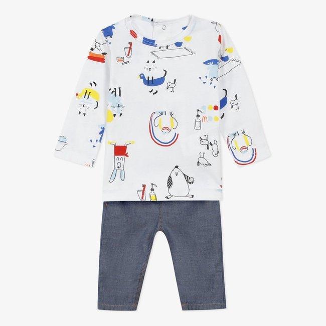 CATIMINI Jersey T-shirt and light denim jeans foor baby boys
