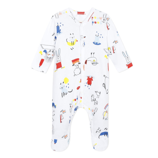 Baby boy's jersey pyjamas with sketch print
