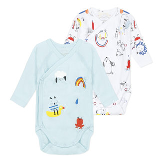 Pack of 2 crossover colourful bodysuits for baby boys