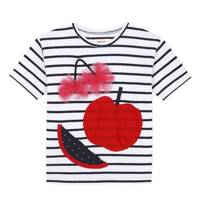 Girl's full striped T-shirt with 3D motifs