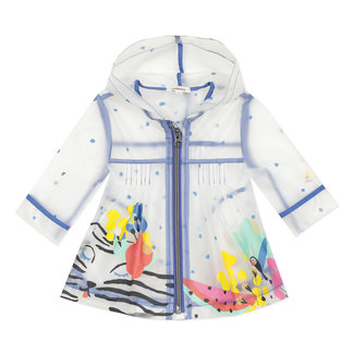 Baby girl's printed translucent rubber raincoat