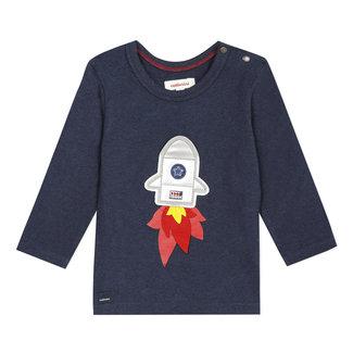 Mottled ink blue T-shirt with a rocket motif