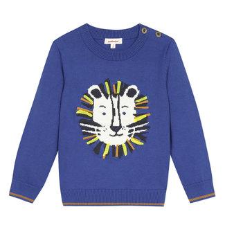 Baby boy's blue lion sweater