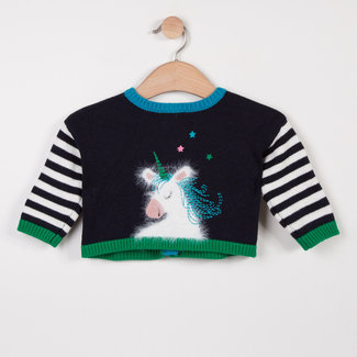 CATIMINI REVERSIBLE CARDIGAN WITH STRIPES AND UNICORN DESIGN