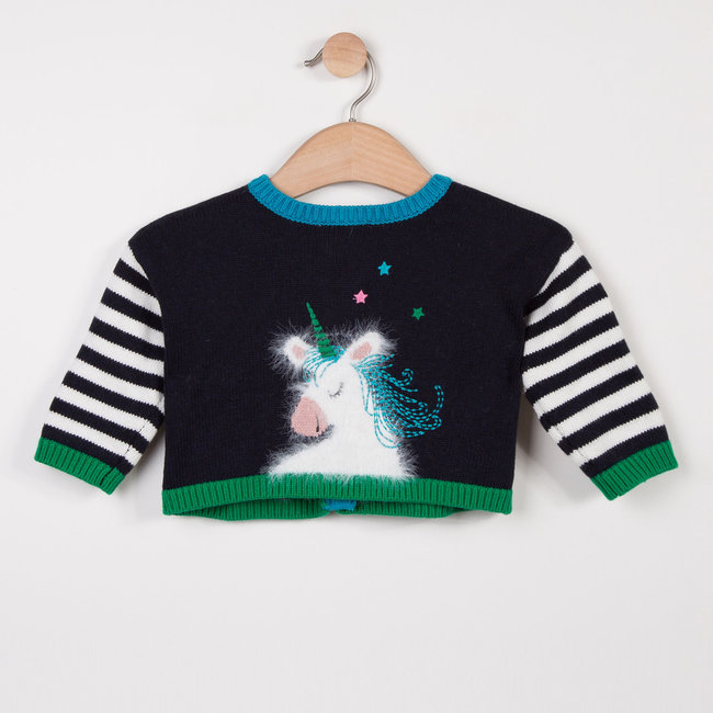 REVERSIBLE CARDIGAN WITH STRIPES AND UNICORN DESIGN
