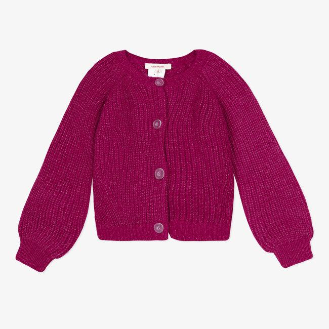 Girls' fluffy sparkling raspberry cardigan
