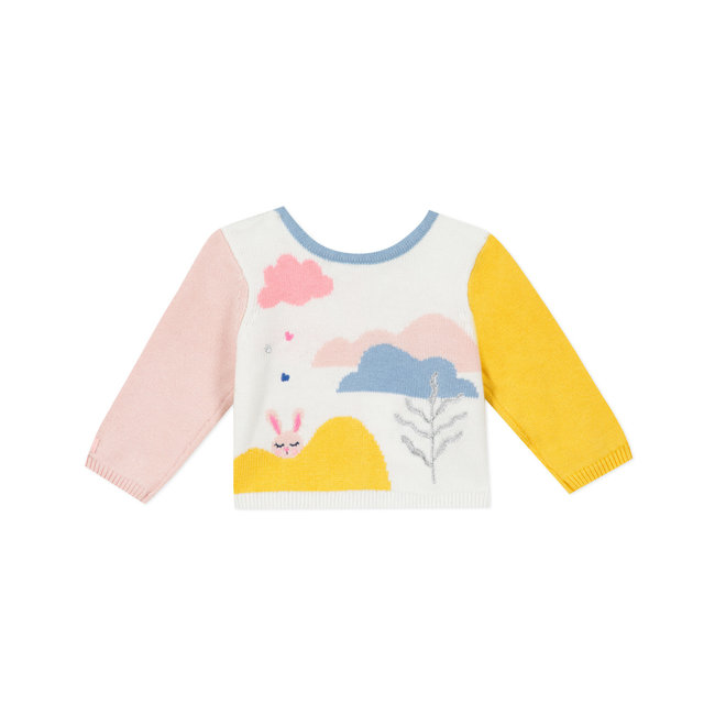 Baby girl's heads and tails knitted cardigan landscape