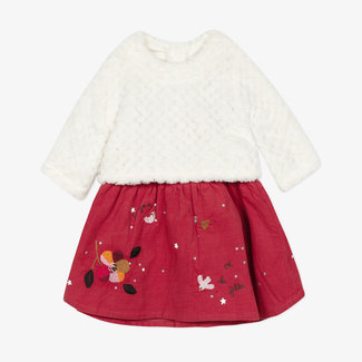Baby girls' velvet knit, jersey twin-fabric dress