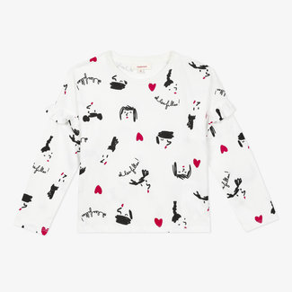 Girls' printed jersey frilly T-shirt