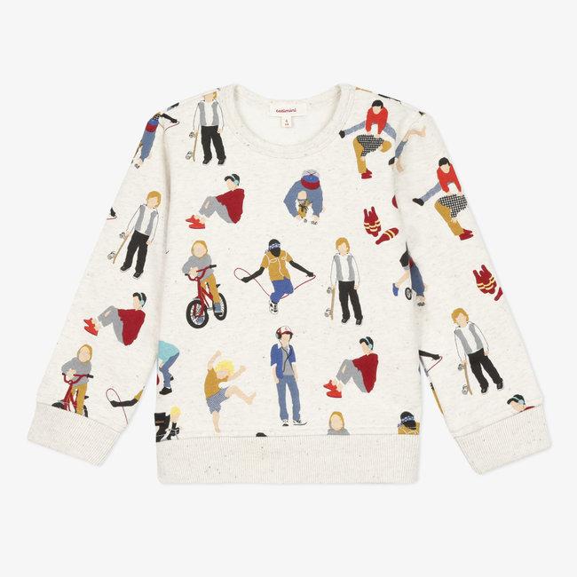 Boy's printed marl fleece sweatshirt