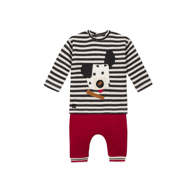 Baby boys striped knit T-shirt and jersey trousers