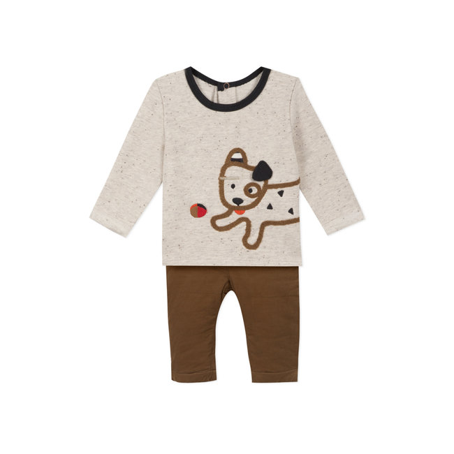 Baby boys'  fleece T-shirt and velvet trousers