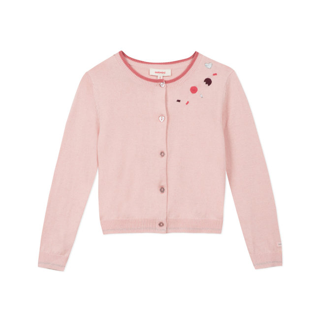 Girls' pale pink knitted cardigan