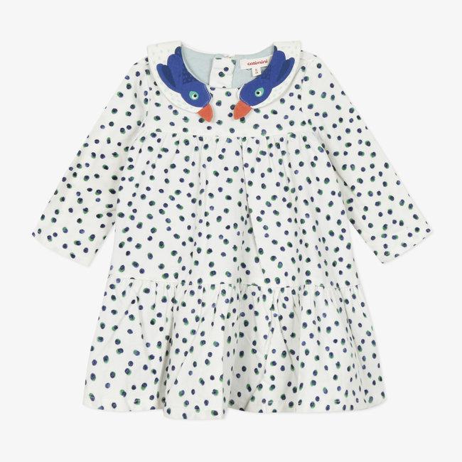 Baby girls' printed fine-ribbed velvet dress