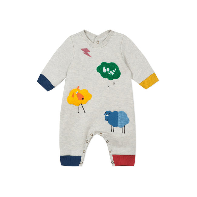 Baby boys' long fleece jumpsuit