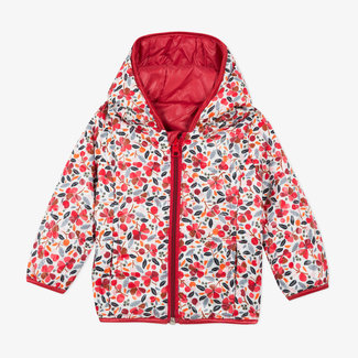 Baby girls' reversible padded coat plain and print