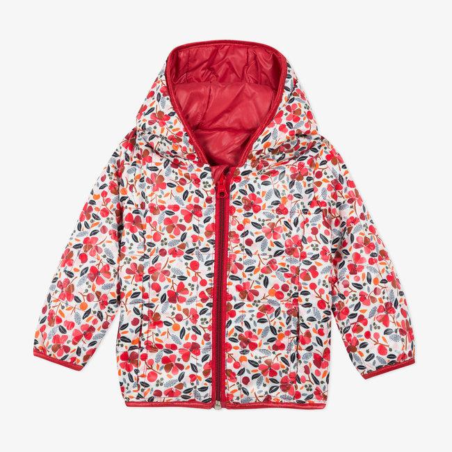 Baby girls' reversible padded coat plain and print
