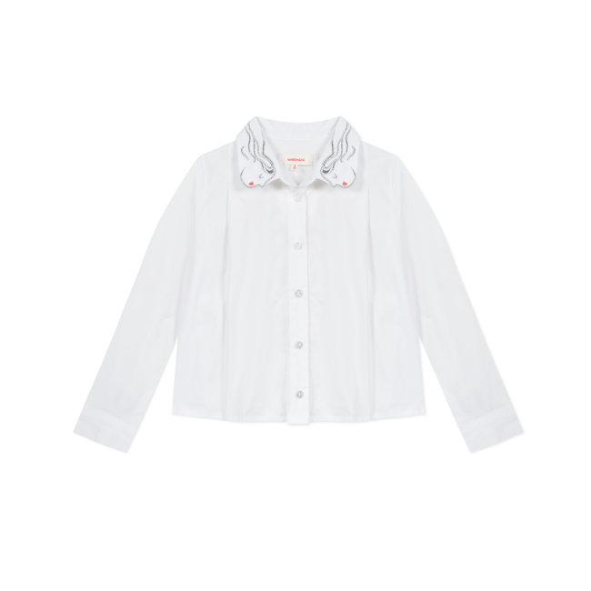 CATIMINI Girls' white poplin shirt