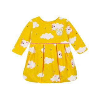 Baby girls' jersey yellow puffball dress