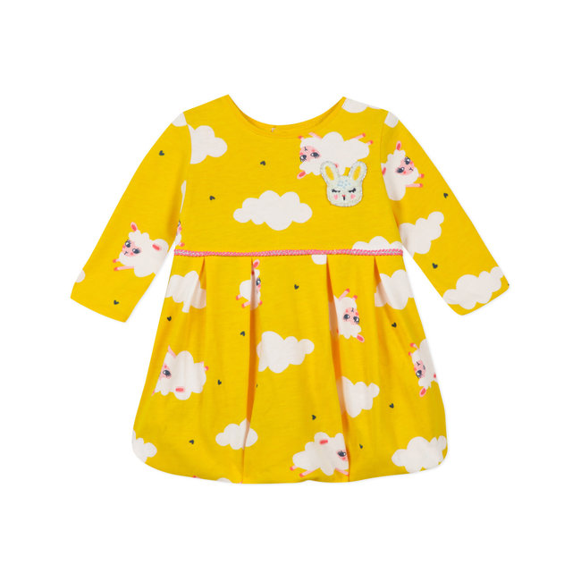 Baby girls' jersey yellow puffball dress
