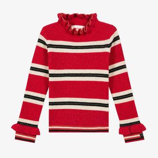 Girls' striped sock knit jumper