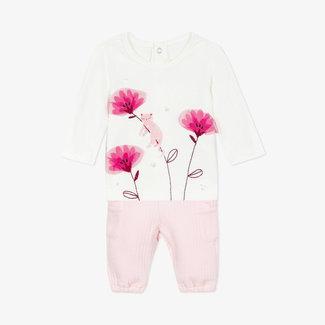 Baby girls' jersey T-shirt and tubular knit pants