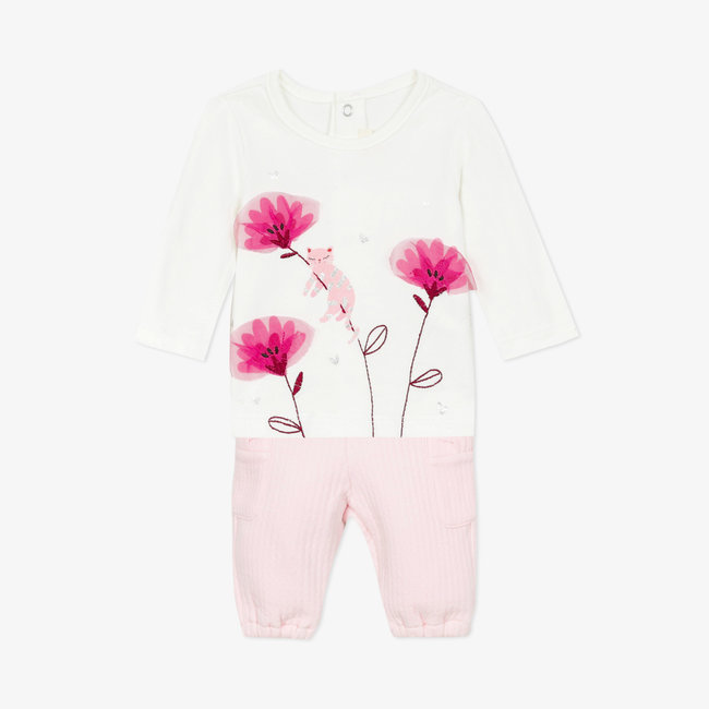 Baby girls' jersey T-shirt and tubular knit pants