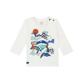 Baby boy's jersey T-shirt with snowy landscape motif