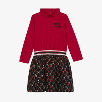 CATIMINI Twin-fab knit and viscose printed dress for girls