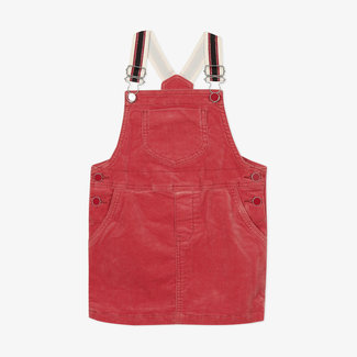 Girls' velvet dungaree dress